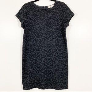 LOFT M Gray Knit Short Sleeve Leopard Shift Dress
